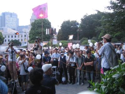 수상 관저 앞 자유 발언대 ( 8월 10일)